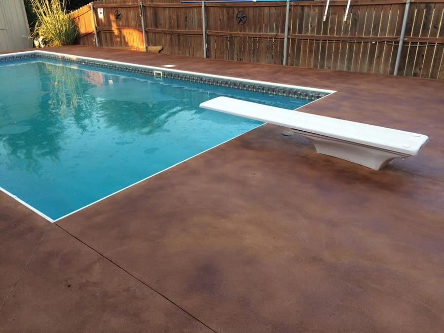 small stained concrete pool deck in Dallas TX