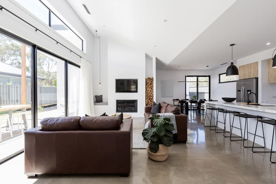 A mansion with a polished concrete flooring
