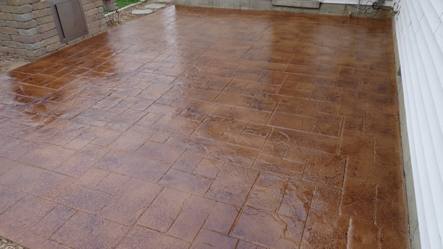 Newly finished stained patio for a house